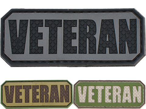 Veteran PVC Hook and Loop Morale Patch (Color: Gray / Black)