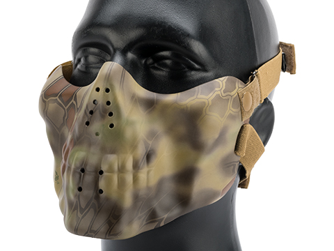 Avengers Iron Face Skull Imprint Nylon Lower Half Mask (Color: Woodland Serpent)