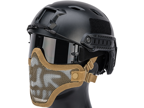 Matrix Iron Face Carbon Steel Mesh Striker V1 Lower Half Mask (Color: Tan / Skull)
