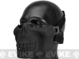 Matrix Iron Face Skull Imprint Nylon Lower Half Mask (Color: Black)