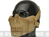 Matrix Iron Face Skull Imprint Nylon Lower Half Mask (Color: Dried Bone)