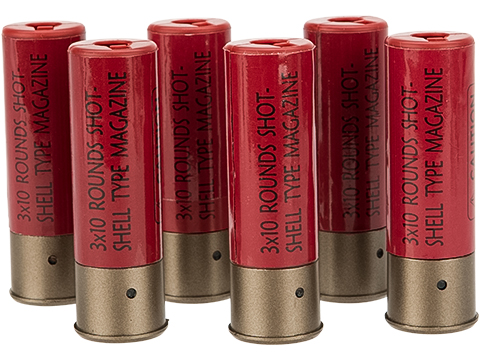 Battle Axe 30 Round Shotgun Shell Magazines for 3-round burst Airsoft Shotguns - Pack of 6 Shells