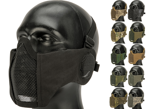 Matrix Carbon Striker Mesh Mask with Integrated Ear Protection (Color: Black)