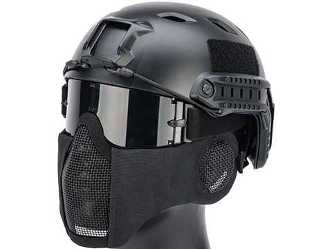Matrix Carbon Striker Mesh Mask w/ Integrated Mesh Ear Protection (Color: Black)