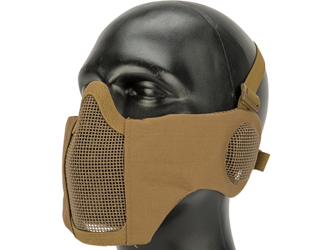 Matrix Carbon Striker Mesh Mask with Integrated Ear Protection (Color: Tan)