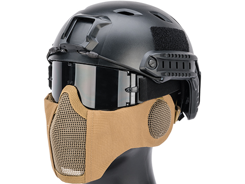 Matrix Carbon Striker Mesh Mask w/ Integrated Mesh Ear Protection (Color: Tan)