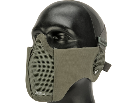 Matrix Carbon Striker Mesh Mask with Integrated Ear Protection (Color: Grey)