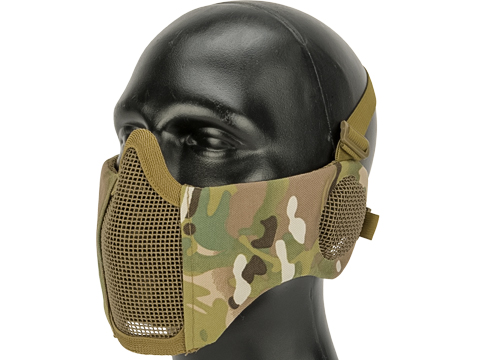 Matrix Carbon Striker Mesh Mask with Integrated Ear Protection (Color: Camo)