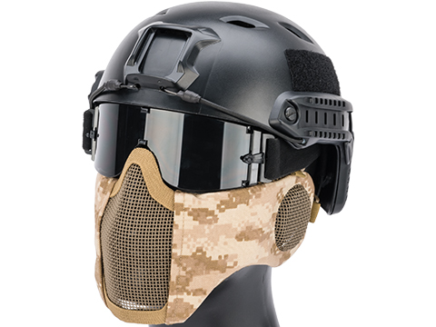 Matrix Carbon Striker Mesh Mask w/ Integrated Mesh Ear Protection (Color: AOR1)