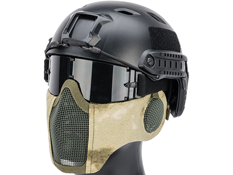 Matrix Carbon Striker Mesh Mask w/ Integrated Mesh Ear Protection (Color: Arid Foliage)