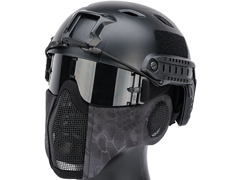 Matrix Carbon Striker Mesh Mask w/ Integrated Mesh Ear Protection (Color: Urban Serpent)