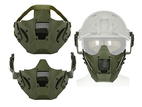 Matrix Iron Warrior Polymer and Mesh Modular Face Mask (Color: OD Green)