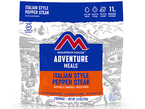 Mountain House Freeze Dried Camping Food (Menu: Italian Style Pepper Steak with Rice and Tomatoes / Entree)