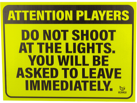 Airsoft 18 x 24 Neon Plastic Field Sign by EMG (Type: Attention Players)
