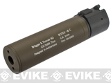 B&T Rotex-IIIA Compact Mock Silencer for M4 Series Airsoft Rifles (Color: Tan)