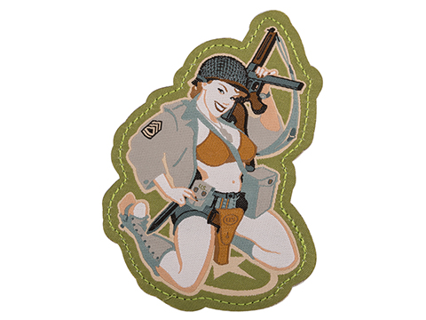 Mil-Spec Monkey Thompson Girl Pinup Embroidered Morale Patch (Color: Full Color)