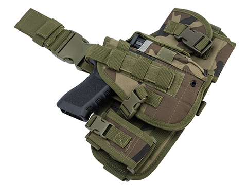 Matrix Drop Leg MOLLE Platform w/ Holster and Pouch Set (Color: Woodland)