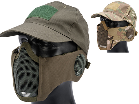 Matrix Carbon Striker Mesh Mask w/ Integrated Mesh Ear Protection and Baseball Hat Package