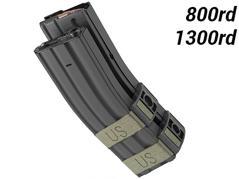 Matrix Electric Auto Winding Dual Mag for M4 M16 Series Airsoft AEG (Model: 1300 Round / Black)