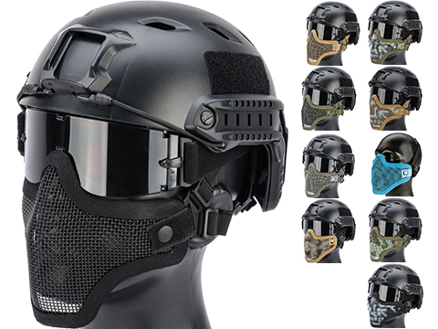 Matrix Iron Face Carbon Steel Mesh Striker V1 Lower Half Mask (Color: Black)