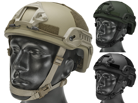 Matrix MICH 2001 Fiberglass Airsoft Helmet w/ NVG Mount & Side Rail (Color: Tan)