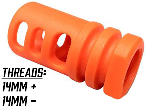 Matrix Shark Type Orange Flashhider for Airsoft AEG Rifles (Thread: 14mm negative)