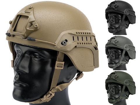 Matrix MICH 2000 Fiberglass Airsoft Helmet w/ NVG Mount & Side Rail