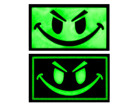 Matrix Smiley Face Glow in the Dark PVC IFF Hook and Loop Patch (Color: Black)