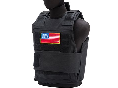 Matrix Delta Force Style Body Armor Shell Vest w/ US Flag Patch (Color: Black)