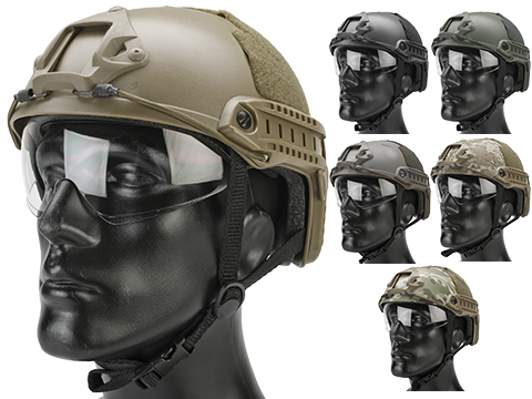 Matrix Basic High Cut Ballistic Type Tactical Airsoft Bump Helmet w/ Flip-down Visor (Color: Black)