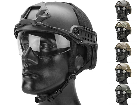 Emerson Bump Type Tactical Airsoft Helmet w/ Flip-down Visor (Type: MICH Ballistic / Basic / Black)