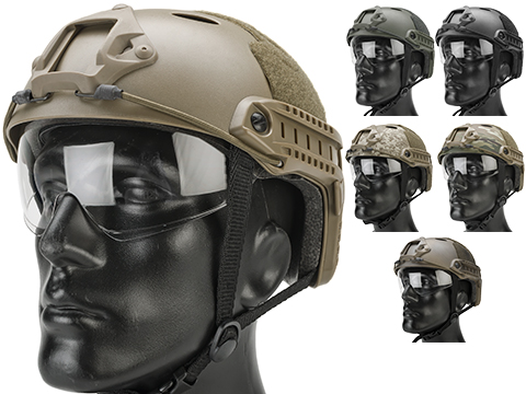 Matrix Basic PJ Type Tactical Airsoft Bump Helmet w/ Flip-down Visor (Color: Dark Earth)