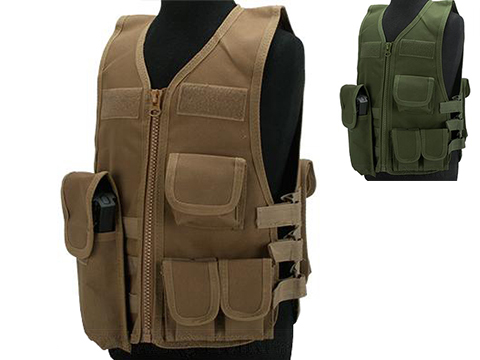 Matrix Childrens Size Tactical Zipper Vest w/ Integrated Magazine Pouches (Color: Tan)