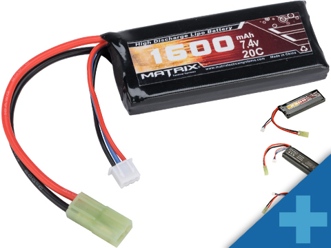 Matrix High Performance 7.4V Brick Type Airsoft LiPo Battery (Configuration: 1600mAh / 20C / Small Tamiya)