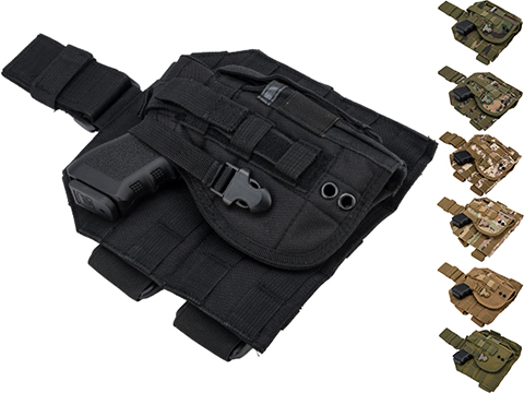 Matrix Tactical Dropleg MOLLE Panel w/ Universal MOLLE Holster (Color: Black)