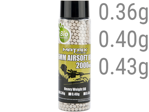 Matrix Match Grade Heavy Weight Bio 6mm High Performance BBs - 2000 Rounds (Weight: .36g / Bio)