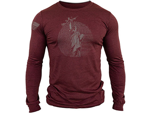 MUSA Statue of Liberty Long Sleeve Shirt (Color: Cardinal Heather / Medium)