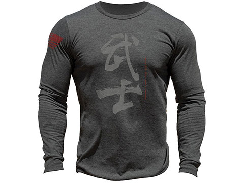 MUSA Calligraphy Long Sleeve Shirt (Color: Dark Gray Heather / Medium)