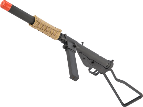 NorthEast Airsoft STEN MK.IIS Gas Blow Back Airsoft SMG w/ Skeleton Stock and Mock Suppressor