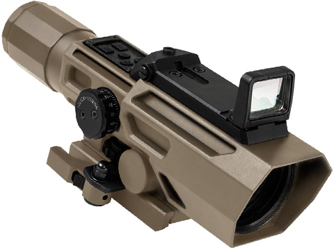 VISM by NcStar Advanced Dual Optic 3-9X42 Illuminated Scope w/ Integrated Red Dot (Color: Tan)