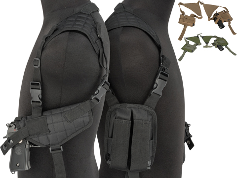 Universal Tactical Shoulder Holster with Dual Magazine Pouch