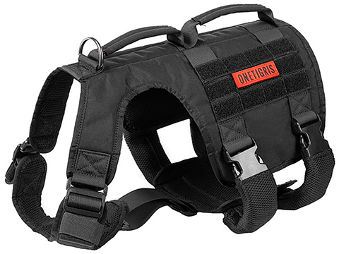 OneTigris GLADIATOR K9 Dog Harness (Color: Black / Medium)