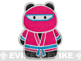 z Epik Panda Ninja Embroidered Hook and Loop Morale Patch - Pink / Teal