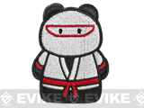 z Epik Panda Ninja Embroidered Hook and Loop Morale Patch - White / Red