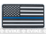 US Flag PVC Hook and Loop Rubber Patch (Color: Regular / Thin Blue Line)