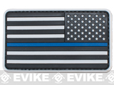 US Flag PVC Hook and Loop Rubber Patch (Color: Reverse / Thin Blue Line)