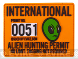 Evike.com Alien Hunting Permit PVC Hook and Loop Patch