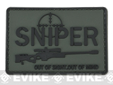 PVC Hook and Loop IFF Patch - Sniper: Out Of Sight. Out Of Mind. - Gray