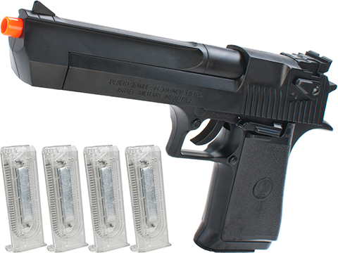 Desert Eagle Licensed Magnum 44 Airsoft Pistol (Color: Black w/ 4 Extra Mags)
