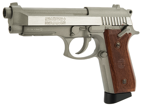 SwissArms PT92 Full Metal CO2 Powered Blowback 4.5mm Air Pistol (4.5mm AIRGUN NOT AIRSOFT) (Color: Silver)